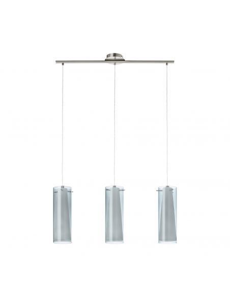 EGLO 90305 - PINTO NERO Lámpara de Salón en Acero níquel-mate y Vidrio tintado, vidrio opalino mate