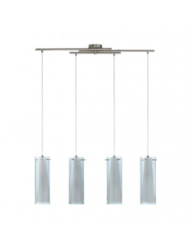 EGLO 90306 - PINTO NERO Lámpara de Salón en Acero níquel-mate y Vidrio tintado, vidrio opalino mate