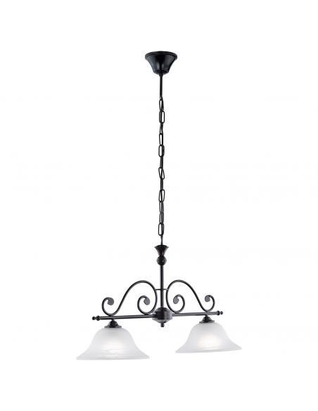 EGLO 91004 - MURCIA Lámpara colgante de Cristal en Acero negro y Vidrio alabastro