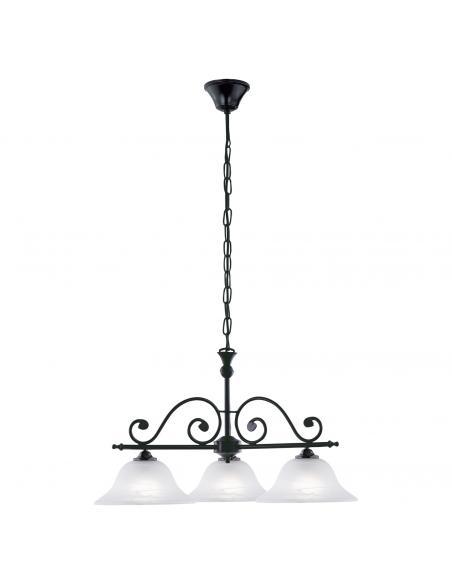 EGLO 91005 - MURCIA Lámpara colgante de Cristal en Acero negro y Vidrio alabastro