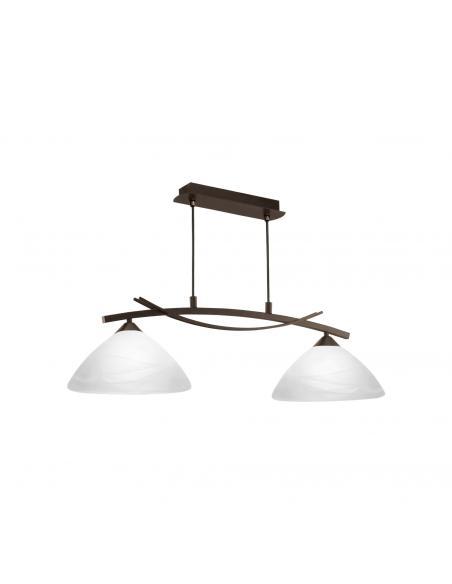 EGLO 91433 - VINOVO Lámpara colgante de Cristal en Acero marrón oscuro y Vidrio alabastro