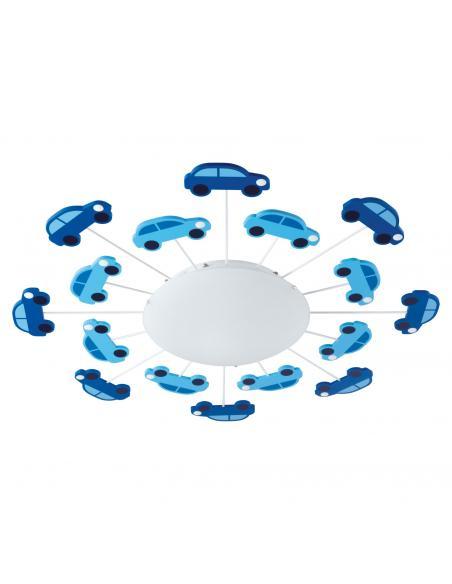 EGLO 92146 - VIKI 1 Lámpara de Dormitorio Intantil en Acero azul y Vidrio satinado