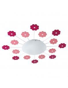 EGLO 92147 - VIKI 1 Lámpara de Dormitorio Intantil en Acero rosa y Vidrio satinado