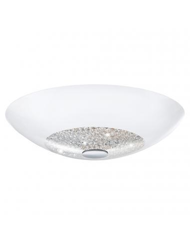 EGLO 92712 - ELLERA Plafón de Cristal en Acero blanco, cromo y Vidrio, cristal