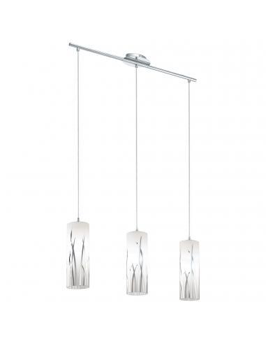 EGLO 92741 - RIVATO Lámpara colgante de Cristal en Acero cromo y Vidrio lacado
