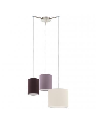 EGLO 92755 - TOMBOLO Lámpara de Salón en Acero níquel-mate y Textil con cierre de velcro
