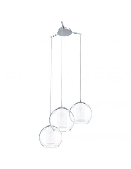 EGLO 92762 - BOLSANO Lámpara colgante de Cristal en Acero cromo y Vidrio satinado, vidrio