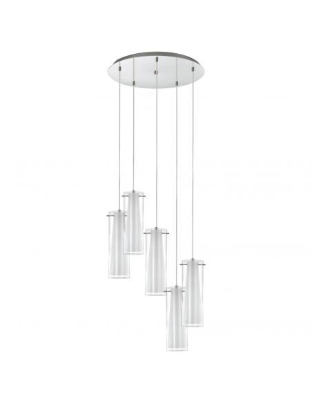 EGLO 93003 - PINTO Lámpara colgante de Cristal en Acero cromo y Vidrio, vidrio opalino mate