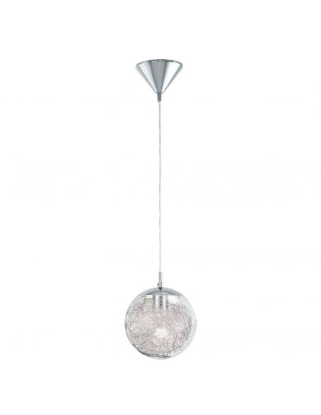 EGLO 93073 - LUBERIO Lámpara colgante de Cristal en Acero cromo y Vidrio, aluminio