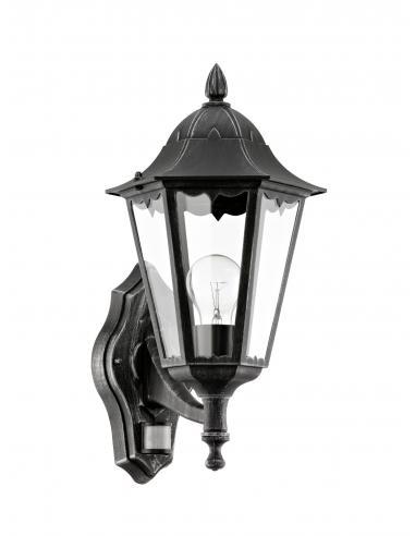 EGLO 93458 - NAVEDO Aplique de exterior con sensor de movimiento en Fundición de aluminio negro, plata-pátina y Vidrio