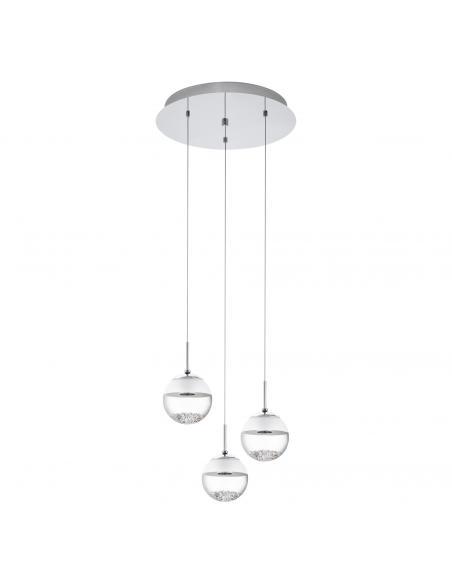 EGLO 93709 - MONTEFIO 1 Lámpara colgante LED en Acero cromo y Vidrio, cristal