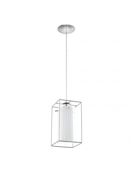 EGLO 94377 - LONCINO 1 Lámpara colgante de Cristal en Acero cromo y Vidrio, vidrio satinado