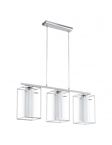 EGLO 94378 - LONCINO 1 Lámpara colgante de Cristal en Acero cromo y Vidrio, vidrio satinado