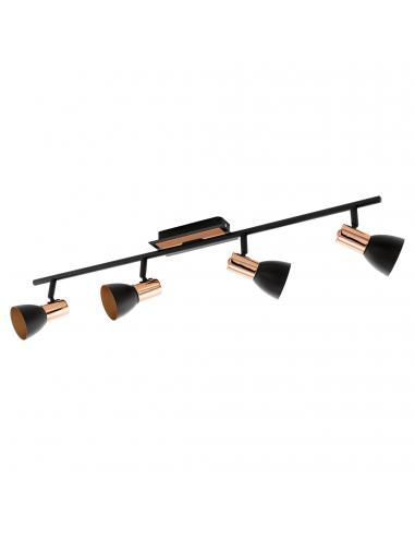 EGLO 94587 - BARNHAM Lámpara de Salón en Acero negro, cobre
