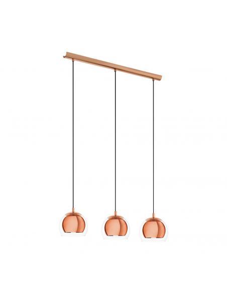 EGLO 94591 - ROCAMAR Lámpara colgante de Cobre en Acero cobre y Vidrio