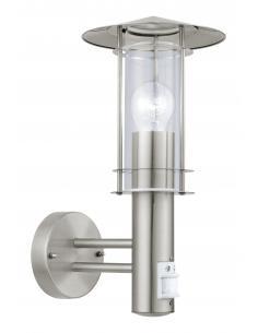 EGLO 30185 - LISIO Aplique de exterior con sensor de movimiento en Acero inoxidable acero inoxidable y Vidrio