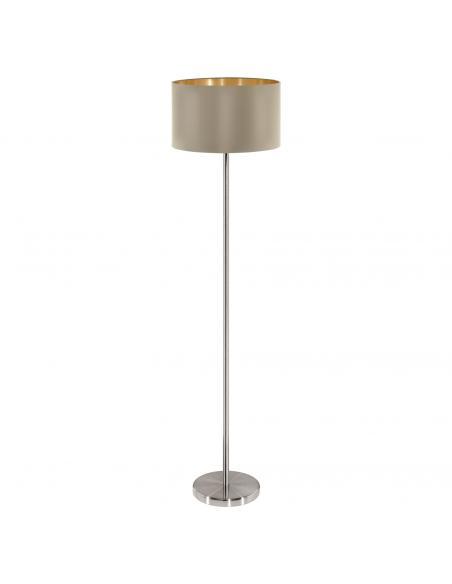 EGLO 95171 - MASERLO Lámpara de pie de tela en Acero níquel-mate y Textil