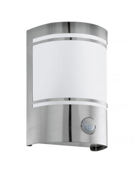 EGLO 30192 - CERNO Aplique de exterior con sensor de movimiento en Acero inoxidable acero inoxidable y Vidrio satinado