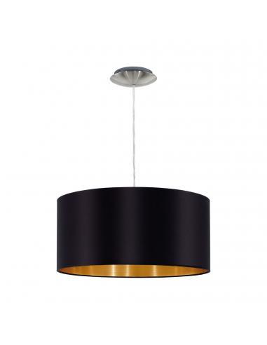 EGLO 31599 - MASERLO Lámpara colgante de Tela en Acero níquel-mate y Textil