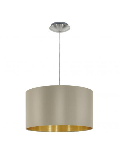 EGLO 31602 - MASERLO Lámpara colgante de Tela en Acero níquel-mate y Textil