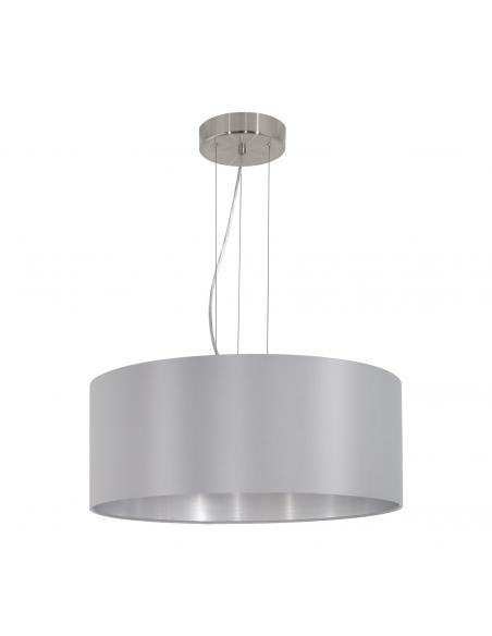 EGLO 31606 - MASERLO Lámpara colgante de Tela en Acero níquel-mate y Textil