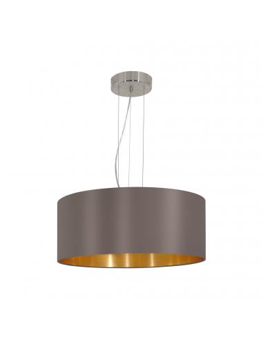 EGLO 31608 - MASERLO Lámpara colgante de Tela en Acero níquel-mate y Textil