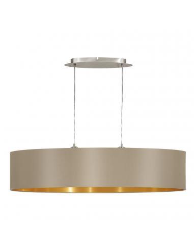 EGLO 31618 - MASERLO Lámpara colgante de Tela en Acero níquel-mate y Textil