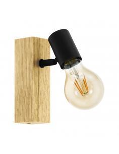 EGLO 98111 - TOWNSHEND 3 Foco LED en Madera, acero marrón, negro