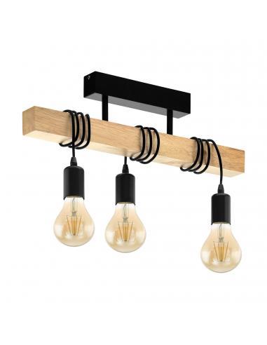 EGLO 32915 - TOWNSHEND Lámpara de Salón en Acero, madera negro, marrón