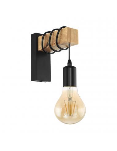 EGLO 32917 - TOWNSHEND Lámpara de Salón en Acero, madera negro, marrón