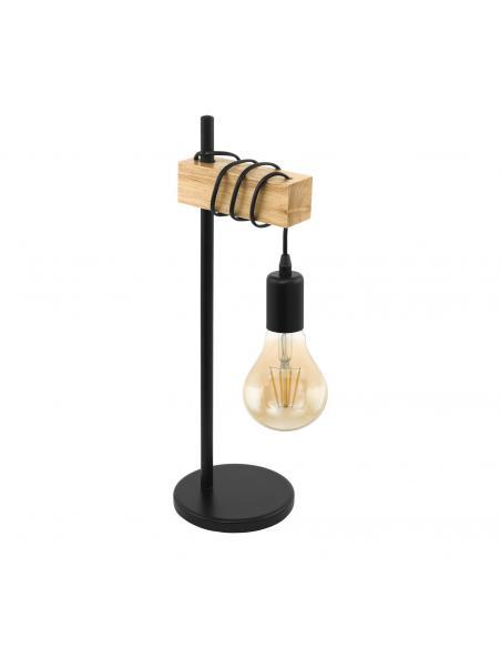 EGLO 32918 - TOWNSHEND Lámpara de Salón en Acero, madera negro, marrón