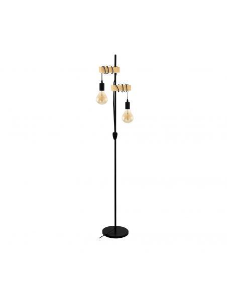 EGLO 32919 - TOWNSHEND Lámpara de Salón en Acero, madera negro, marrón