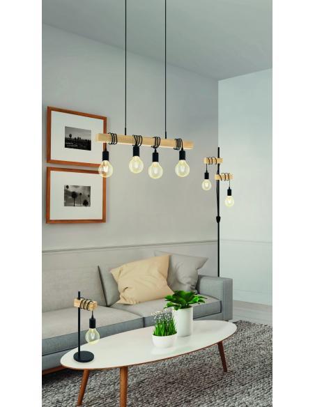 EGLO 32918 - TOWNSHEND Lámpara de mesa en Acero, madera