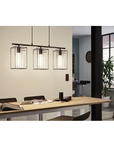 EGLO 49496 - LONCINO Lámpara colgante en Acero y Vidrio tintado