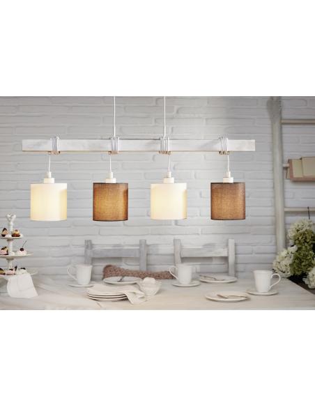 EGLO 49927 - TOWNSHEND 2 Lámpara colgante en Acero, madera y Textil, lino