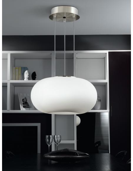 EGLO 86813 - OPTICA Lámpara colgante en Acero y Vidrio opalino mate