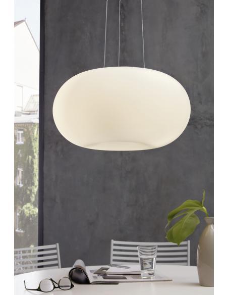 EGLO 86815 - OPTICA Lámpara colgante en Acero y Vidrio opalino mate