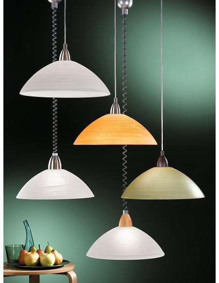 EGLO 87009 - LORD 2 Lámpara colgante en Acrílico, madera y Vidrio alabastro