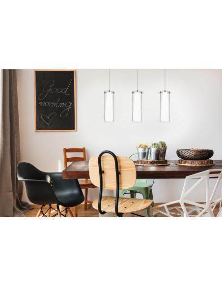 EGLO 89833 - PINTO Lámpara colgante en Acero y Vidrio, vidrio opalino mate