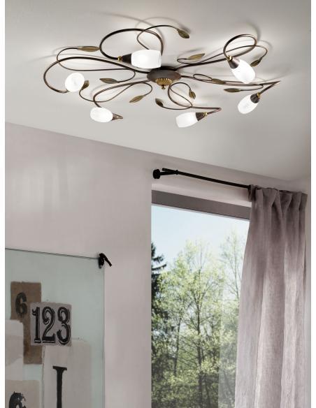 EGLO 90697 - GERBERA 1 Lámpara de techo en Acero y Vidrio satinado