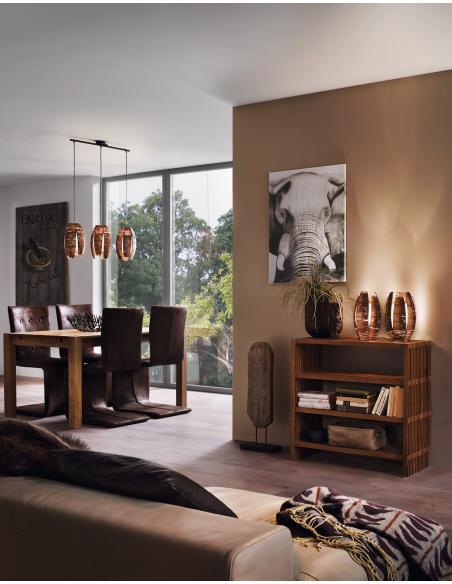 EGLO 91014 - MONGU Lámpara de mesa en Acero y Rafia, vidrio