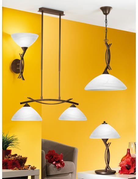 EGLO 91433 - VINOVO Lámpara colgante en Acero y Vidrio alabastro