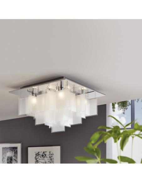 EGLO 92727 - CONDRADA 1 Lámpara de techo en Acero y Vidrio satinado