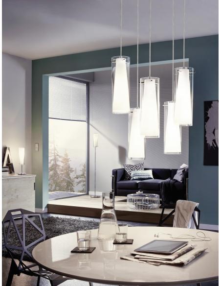 EGLO 93003 - PINTO Lámpara colgante en Acero y Vidrio, vidrio opalino mate