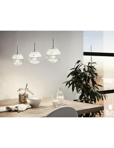 EGLO 93784 - MONTEFIO 1 Lámpara colgante en Acero y Vidrio, cristal