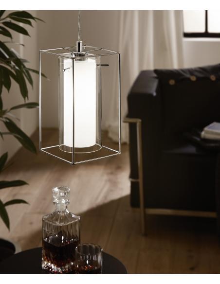 EGLO 94377 - LONCINO 1 Lámpara colgante en Acero y Vidrio, vidrio satinado