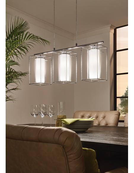 EGLO 94378 - LONCINO 1 Lámpara colgante en Acero y Vidrio, vidrio satinado