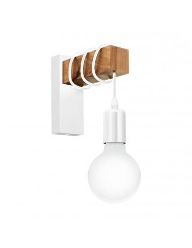 EGLO 33162 - TOWNSHEND Lámpara de Salón en Acero blanco y Madera