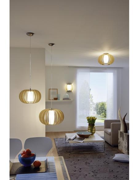 EGLO 95597 - STELLATO 1 Lámpara de techo en Acero y Madera, vidrio
