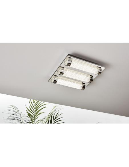 EGLO 97056 - TOLORICO Lámpara de pared / techo en Acero inoxidable y Vidrio, cristal
